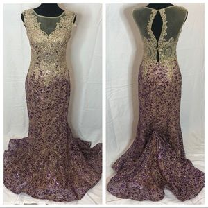 Dave and Johnny Beaded Prom Dress